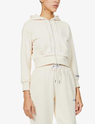 Adam Selman Sport Cropped cotton-blend jersey hoody