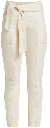 Jonathan Simkhai Henley Tie-Waist Seamed Pants