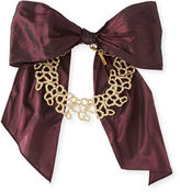 Oscar de la Renta Textured Golden Choker Necklace with Grosgrain Bow, Bordeaux