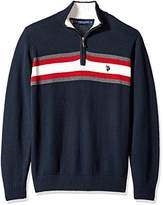 U.S. Polo Assn. Men's Tri-Color Chest Stripe 1/4 Zip Sweater