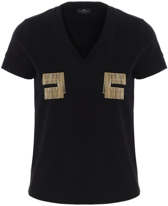 Elisabetta Franchi Chain Embroidered Logo T-Shirt