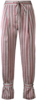 Jil Sander Navy striped cropped trousers - women - Polyamide/Acetate/Cupro - 36
