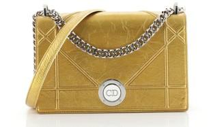 Christian Dior Diorama Clasp Flap Bag Crinkled Lambskin Medium