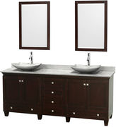 WYNDHAM COLLECTION Acclaim 80 inch Double Bathroom Vanity with WhiteCarrera Marble Countertop and Arista White CarreraMarble Sinks