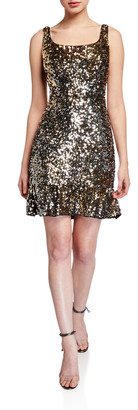 Aidan Mattox Sequin Flounce Hem Tank Cocktail Dress