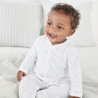 The White Company Star-Print Velour Sleepsuit, White, 12-18mths
