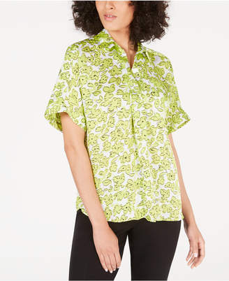 Alfani Petite Printed Short-Sleeve Blouse