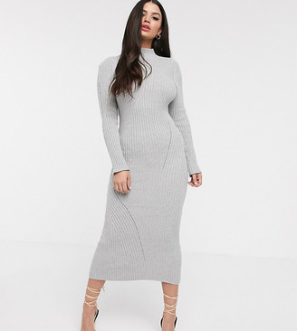 Asos DESIGN Petite maxi knitted dress in moving rib