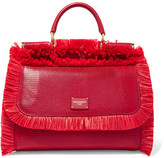 Dolce & Gabbana Sicily Medium Raffia-trimmed Lizard-effect Leather Tote - Red