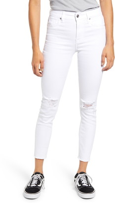 Vigoss Ace High Waist Ripped Raw Hem Skinny Jeans
