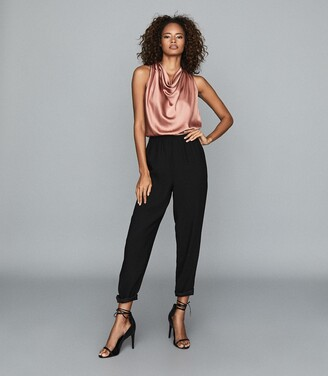 Reiss Harley - Drape Detail Jumpsuit in Black/pink