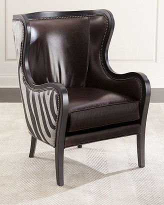 Massoud Oliver Zebra Hairhide & Leather Wing Chair
