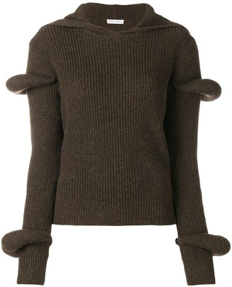 J.W.Anderson Rib-Knit Hoodie With Puff Sleeves