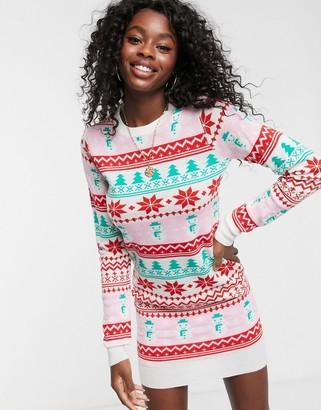 Brave Soul christmas jumper dress in snowman jacquard-Red