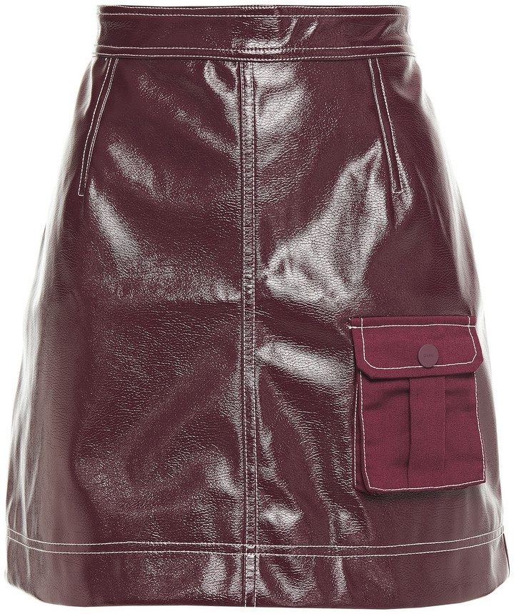 Thumbnail for your product : Ganni Canvas-paneled Faux Leather Mini Skirt