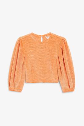 Monki Textured velvet blouse