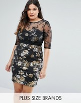 Little Mistress Plus Floral Pencil Dress With Mesh Sleeves