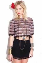 For Love & Lemons Mexico Mini Skirt in Black