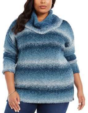 Style&Co. Style & Co Plus Size Ombre Cowl-Neck Sweater, Created For Macy's