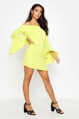 boohoo Off The Shoulder Frill Sleeve Dress