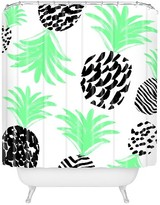 """DENY Designs Classy Pineapples Shower Curtain Green (71"""" x 74"""