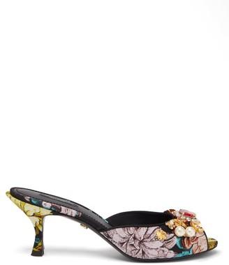 Dolce & Gabbana Floral-jacquard Embellished Mules - Black Multi