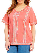 Allison Daley Plus Short Sleeve Puff Print Knit Top
