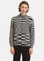 Missoni Striped Knit Zip-up Sweater In Black And White