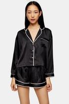 Topshop Black Satin Long Sleeve Pyjama Set