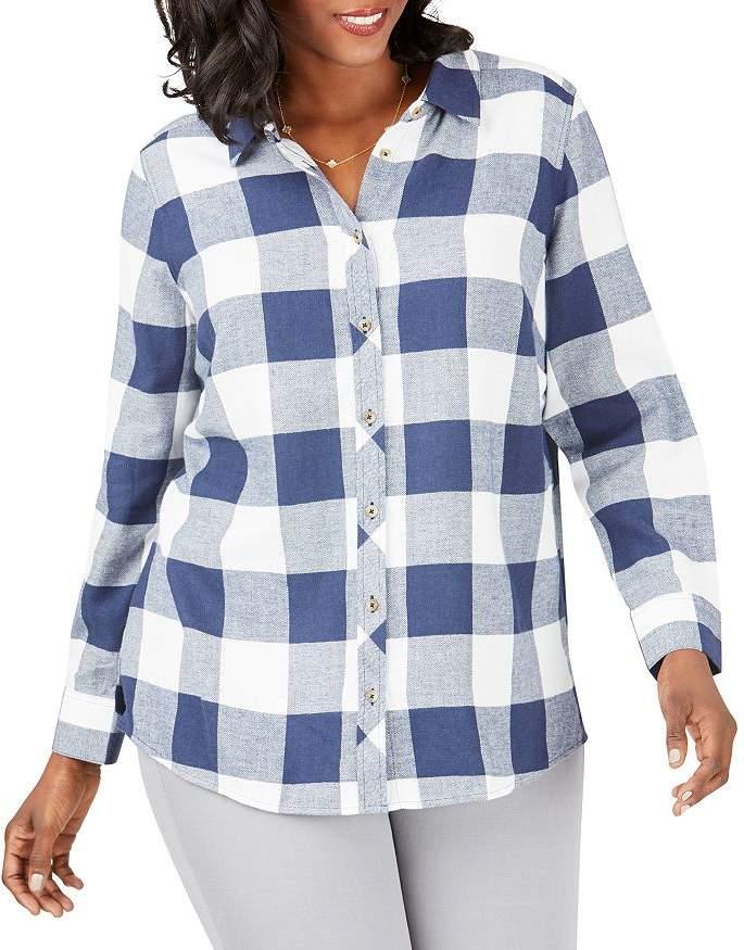 Foxcroft Plus Buffalo-Plaid Shirt