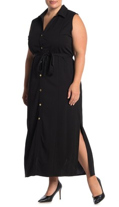 Nina Leonard Button Front Sleeveless Maxi Dress (Plus Size)