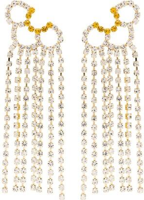 Area gold tone Petal Chandelier crystal earrings