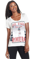 Style&Co. Top, Short-Sleeve Printed Beaded High-Low Tee