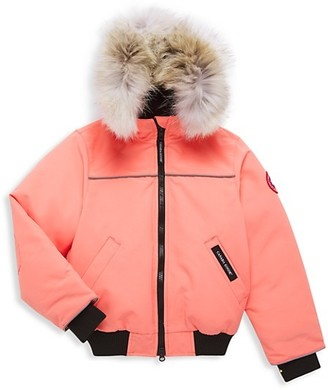 Canada Goose Little Girl's Coyote Fur Trim Down Grizzly Bomber Jacket