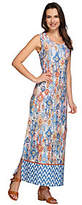 Denim & Co. Petite Tribal Border Printed Maxi Dress