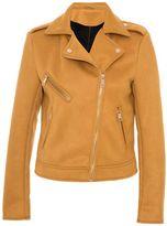 Quiz Mustard Faux Suede Biker Zip Detail Jacket