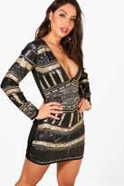 boohoo Boutique Sequin Printed Bodycon Dress