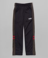CB Sports Black & Red Stripe Track Pants - Boys
