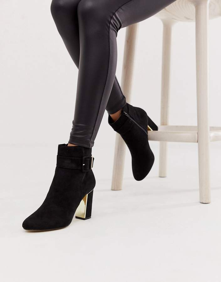 0f42233e0b5 covered buckle ankle boot in black