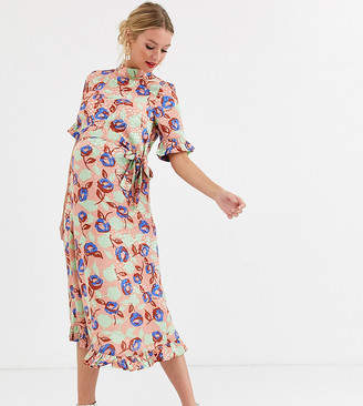 ASOS DESIGN Maternity midi jacquard floral dress with belt