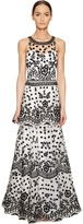 Marchesa All Over Embroidered Dress w/ Two Tiered Skirt Women's Dress