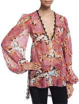 Just Cavalli Kiku Floral-Print Long-Sleeve Caftan, Off White