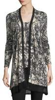 Neiman Marcus Burst-Print Open Cashmere Cardigan w/ Sheer Trim