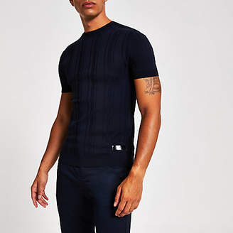 River Island Navy ribbed muscle fit knitted T-shirt