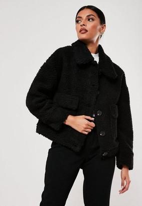 Missguided Black Cropped Borg Teddy Trucker Jacket