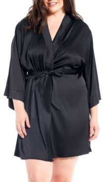 iCollection Dressy Plus Size Satin Spandex Robe with Lace Cut Out Back Panel