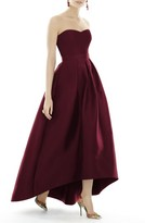 Alfred Sung Women's Strapless High/low Sateen Twill Gown