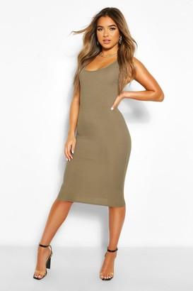 boohoo Petite Rib Scoop Back Midi Dress