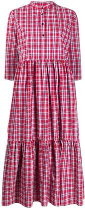 Woolrich check print tiered dress