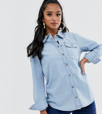 ASOS DESIGN Petite denim shirt with pocket in midwash blue